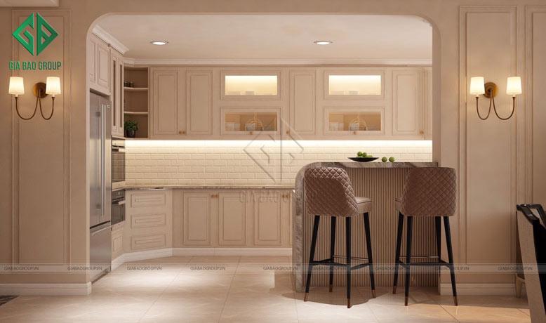 Thiết kế nội thất bếp đẹp phong cách tân cổ điển
