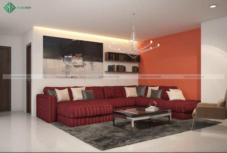 Thiết kế nội thất phòng khách với ghế sofa đỏ nổi bật hợp cho trẻ mệnh thổ