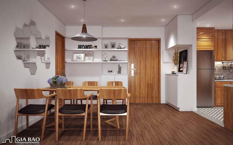 Nội thất bếp sử dụng gỗ nâu hợp với màu bản mệnh