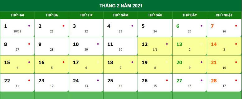 Lịch âm năm 2021 Tân Sửu