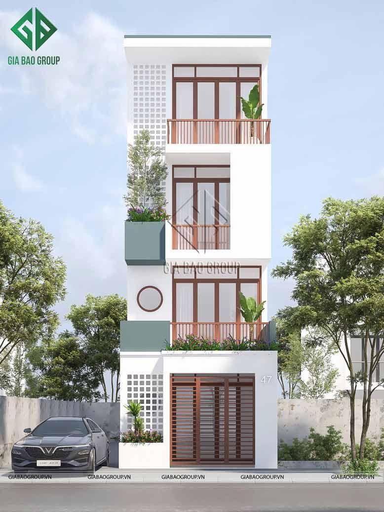 Phong cách thiết kế chủ đạo của ngôi nhà hiện đại 4 tầng.