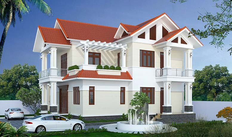 Nhà mái thái 2 tầng 4 phòng ngủ