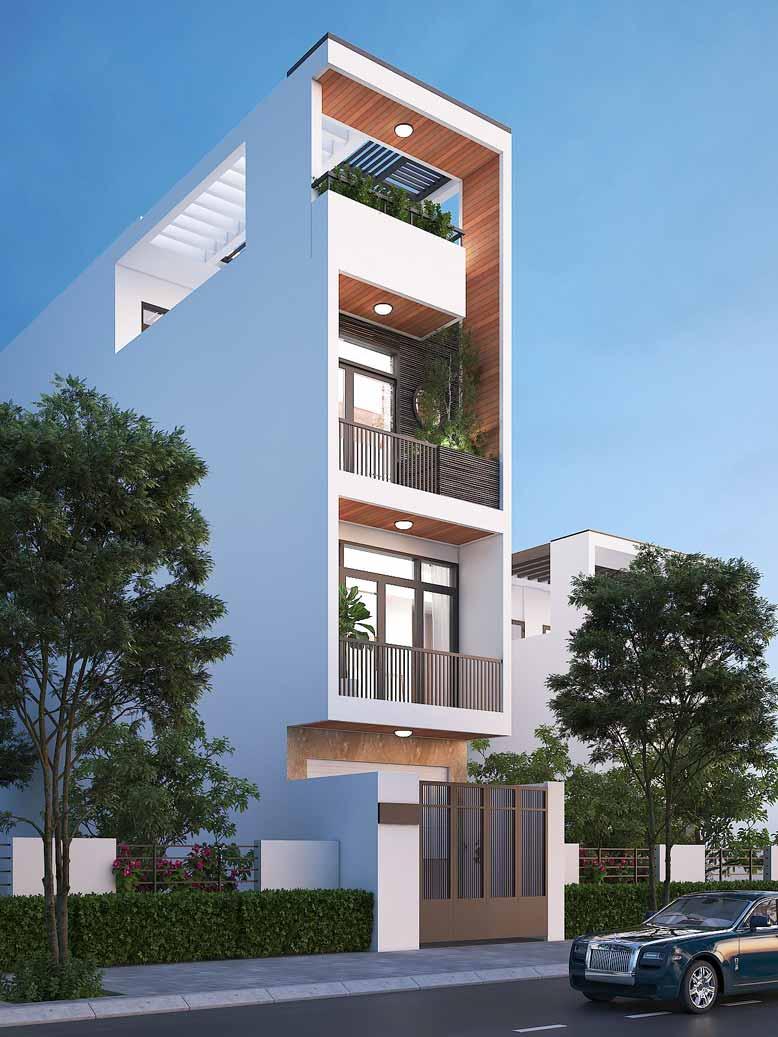 Vẻ đẹp của thiết kế nhà phố 4 tầng khi nhìn nghiêng