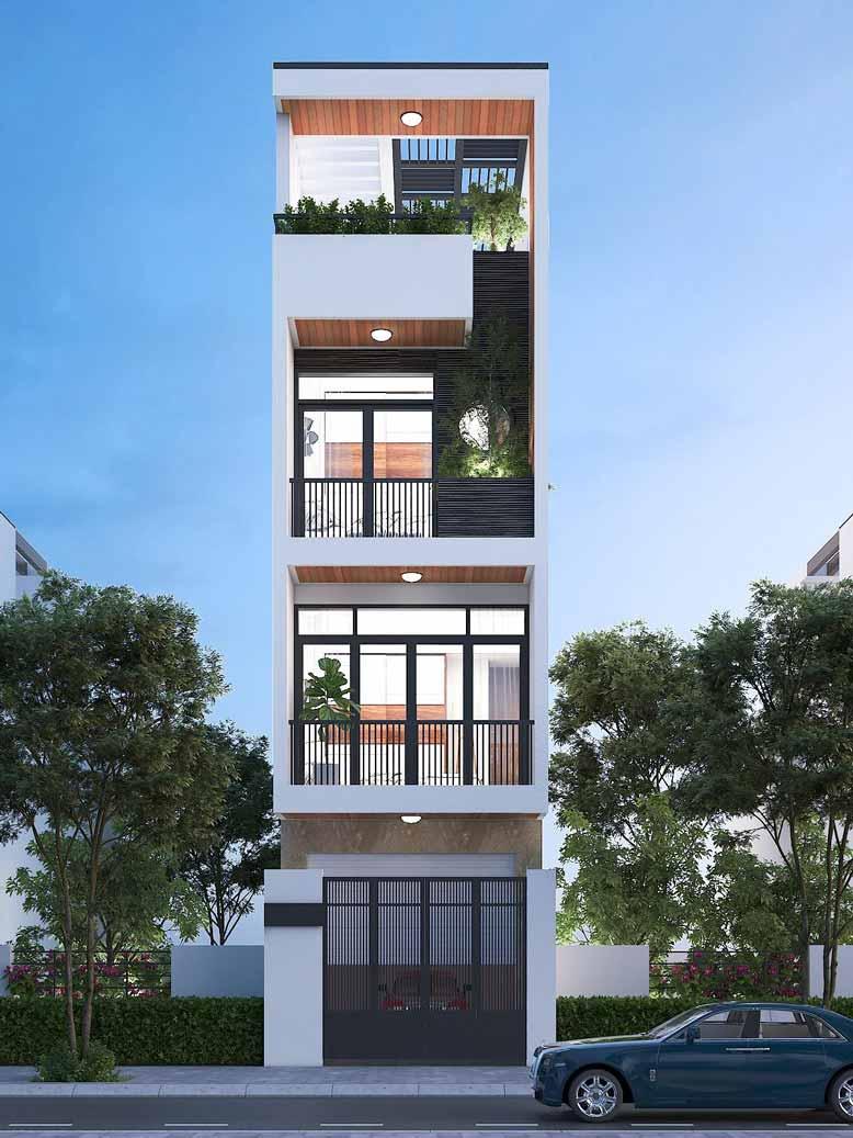 Mặt tiền mẫu thiết kế nhà phố 4 tầng theo phong cách hiện đại