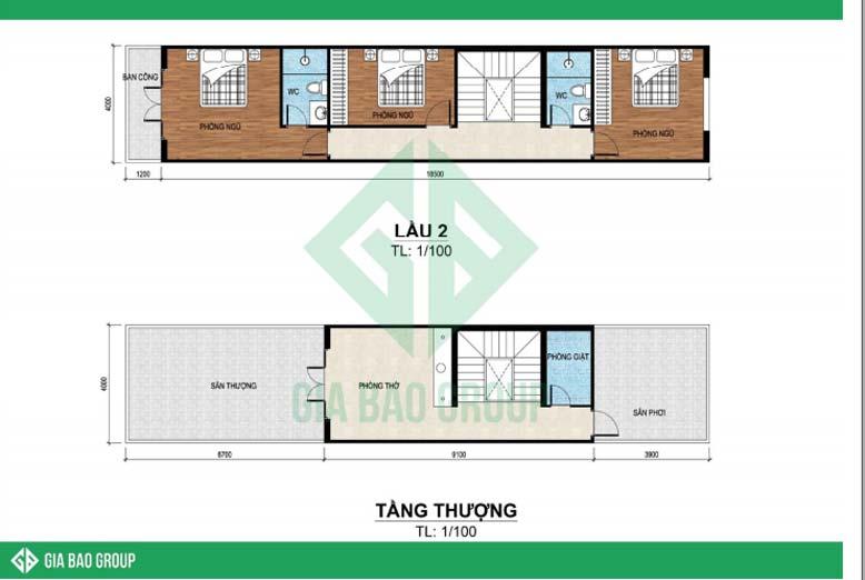 Bản vẽ chi tiết mặt bằng công năng tầng 2 và tầng thượng cho nhà phố 4 tầng