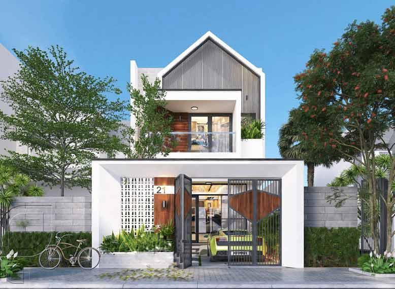 Mẫu thiết kế nhà phố mái ngói với kiến trúc thanh thoát