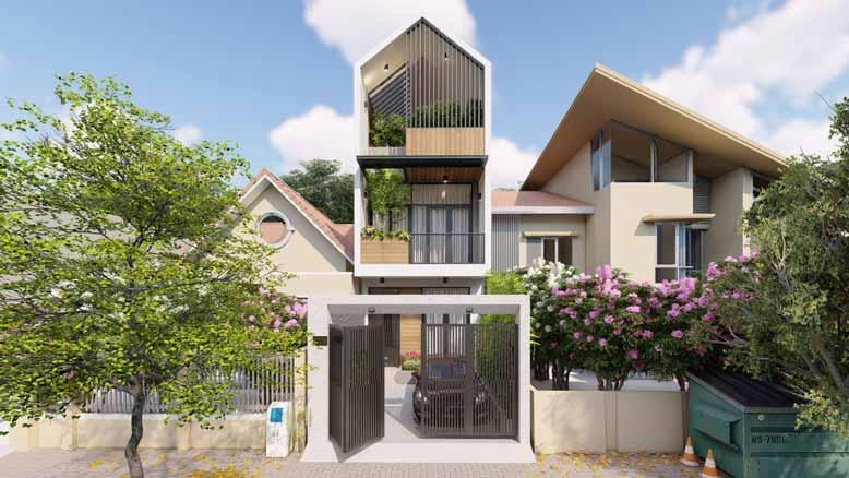 Thiết kế nhà phố mái ngói 3 tầng mái chữ A