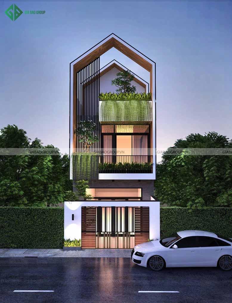 Nhà phố mái ngói thiết kế độc đáo