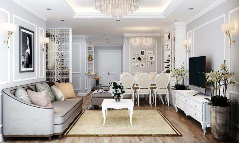 Trang trí nội thất phòng khách liền bếp giúp tiết kiệm tối đa diện tích.