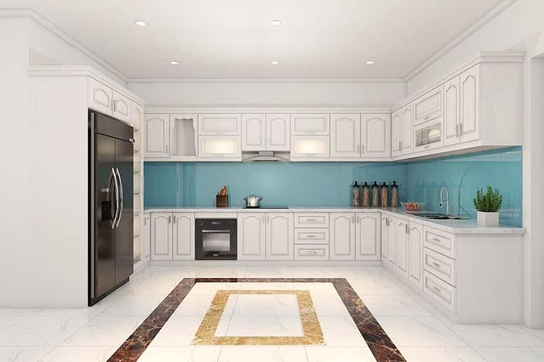 Nội thất bếp đẹp tân cổ điển với những đường gờ chỉ ấn tượng