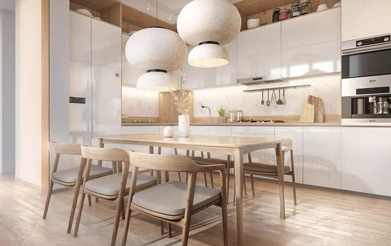 Nội thất bếp đẹp Bắc Âu với chất liệu gỗ ấm cúng