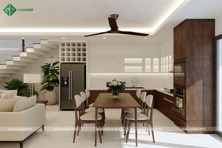 Nội thất bếp đẹp với chất liệu gỗ ấm cúng, sang trọng