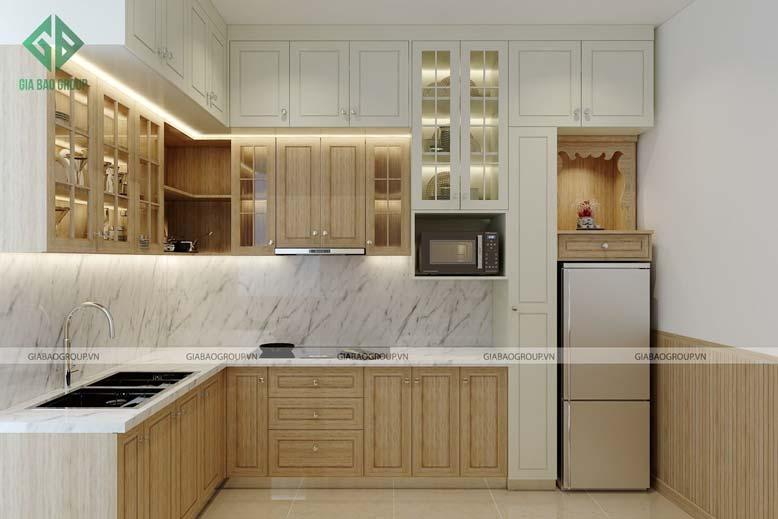 Nội thất bếp đẹp với thiết kế gỗ nâu sáng màu đẹp, sang trọng