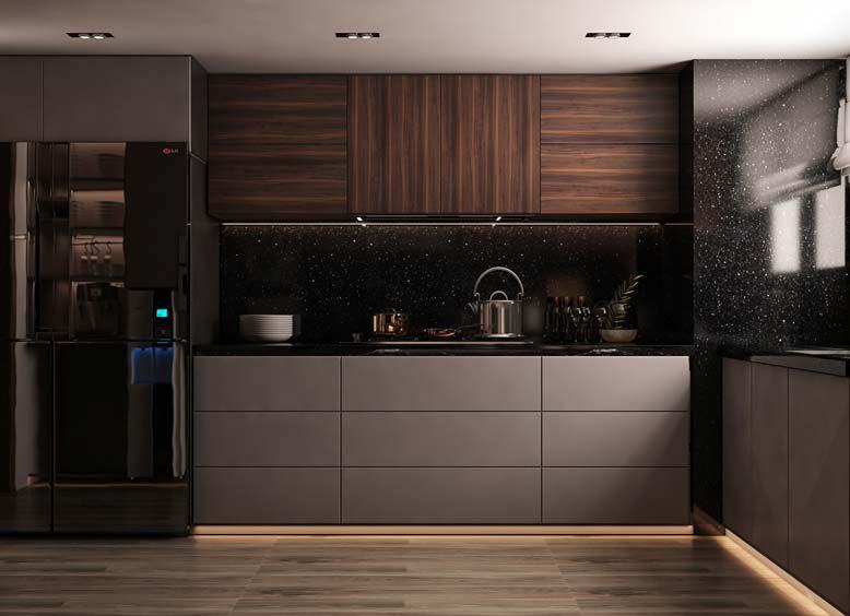 Nội thất bếp đẹp chữ L phong cách Luxury thời thượng