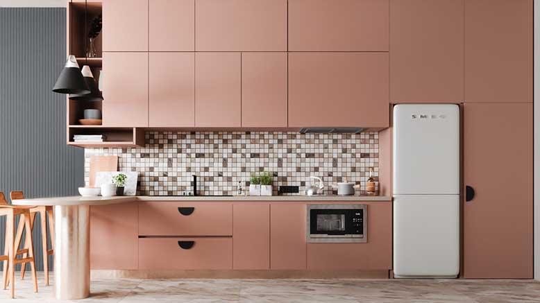 Nội thất bếp đẹp chữ I với màu hồng ấn tượng
