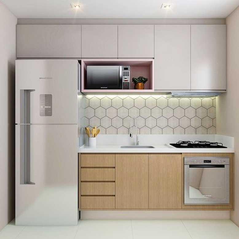 Mẫu nội thất bếp đẹp chữ I nhỏ gọn cho người độc thân