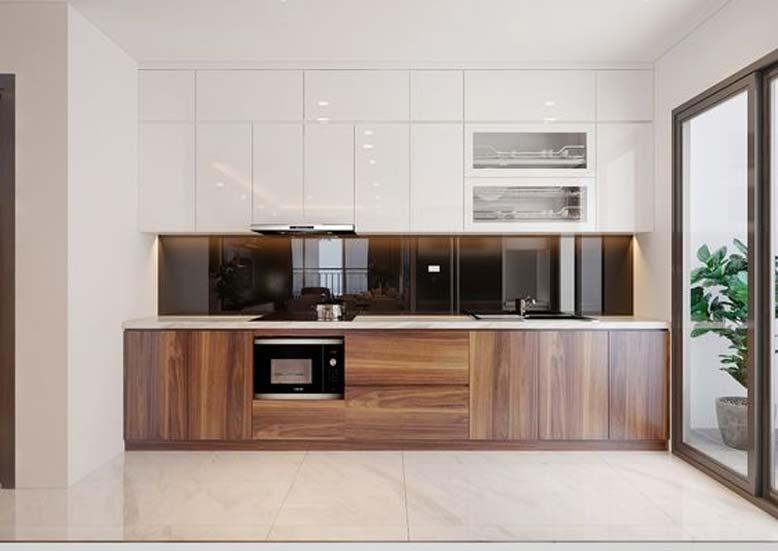 Tủ bếp chữ I nhỏ gọn cho nội thất căn hộ chung cư