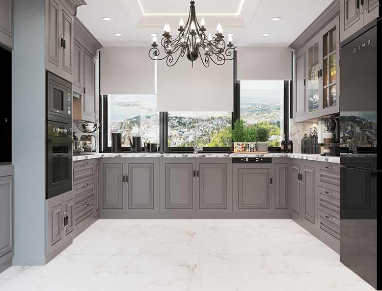 Phòng bếp đẹp tân cổ điển tông màu xám hiện đại