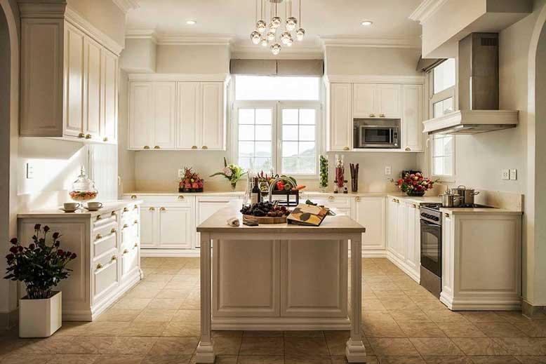 Thiết kế phòng bếp hình chữ U phong cách tân cổ điển