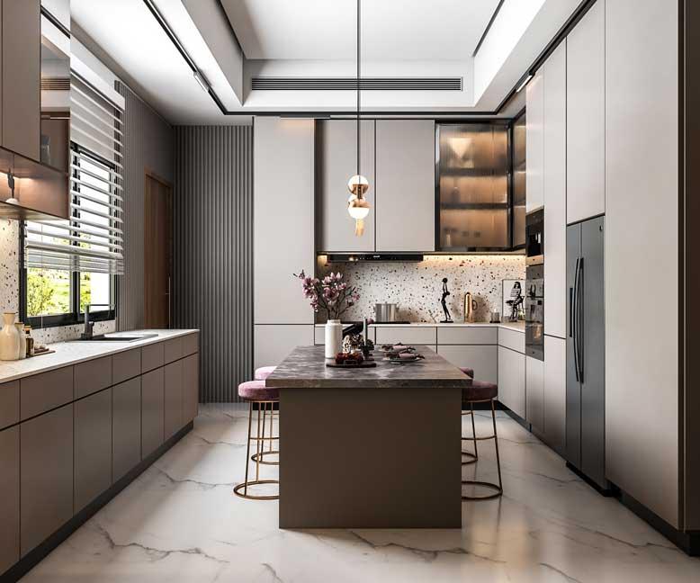 Thiết kế bếp phong cách hiện đại với không gian rộng rãi