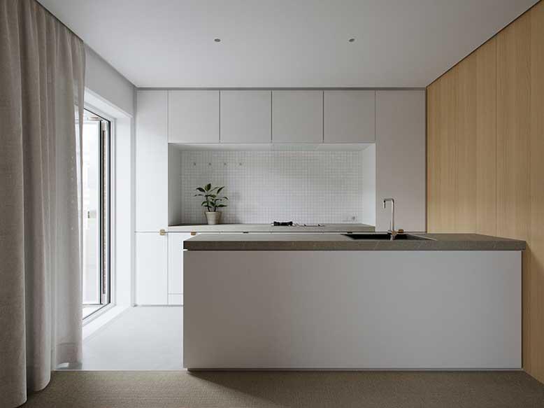 Mẫu tủ bếp song song với thiết kế tối giản