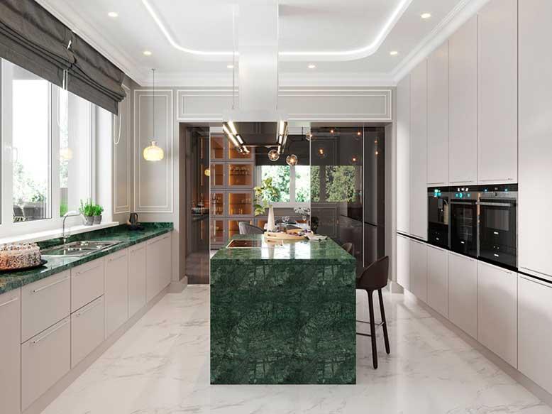 Mẫu nhà bếp song song với màu sắc xanh là điểm nhấn nổi bật, hài hòa với không gian nhà ở