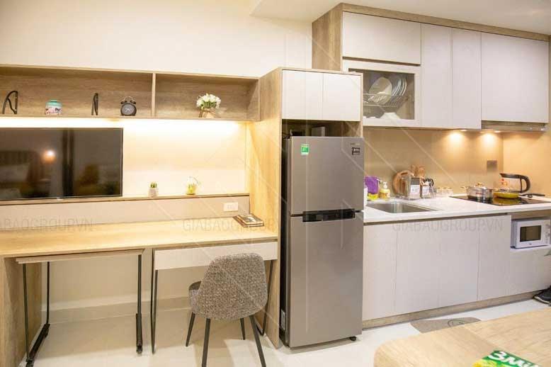 Nội thất căn hộ chung cư cho phòng bếp khoa học, gọn gàng