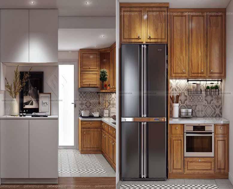 Nội thất căn hộ chung cư với nội thất bếp gỗ sang trọng và đẳng cấp