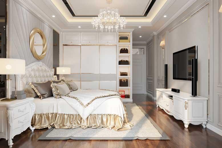 Nội thất nhà ống kiểu tân cổ điển cho phòng ngủ quý phái