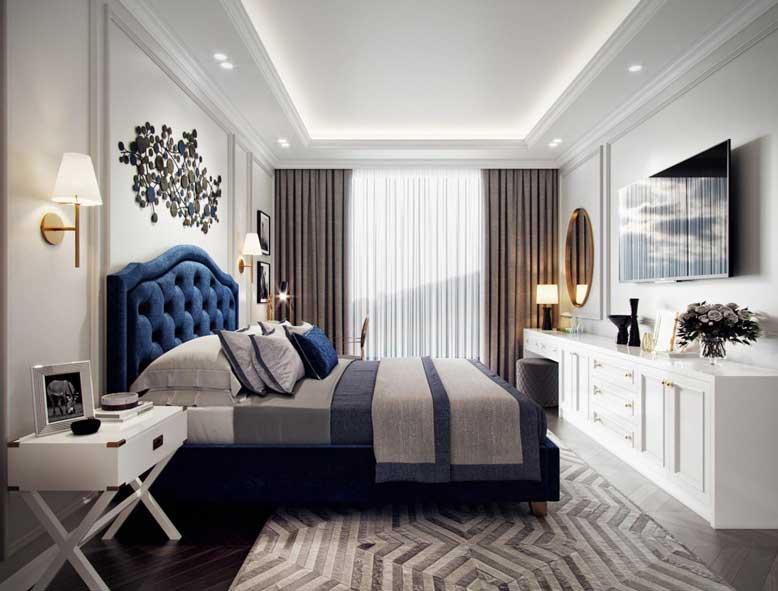 Chiếc giường ngủ màu xanh dương là điểm nhấn hoàn hảo cho nội thất căn phòng