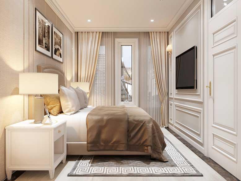 Phòng ngủ nhà ống tân cổ điển được bố trí đơn giản với đồ nội thất cơ bản, tiết kiệm không gian tối đa