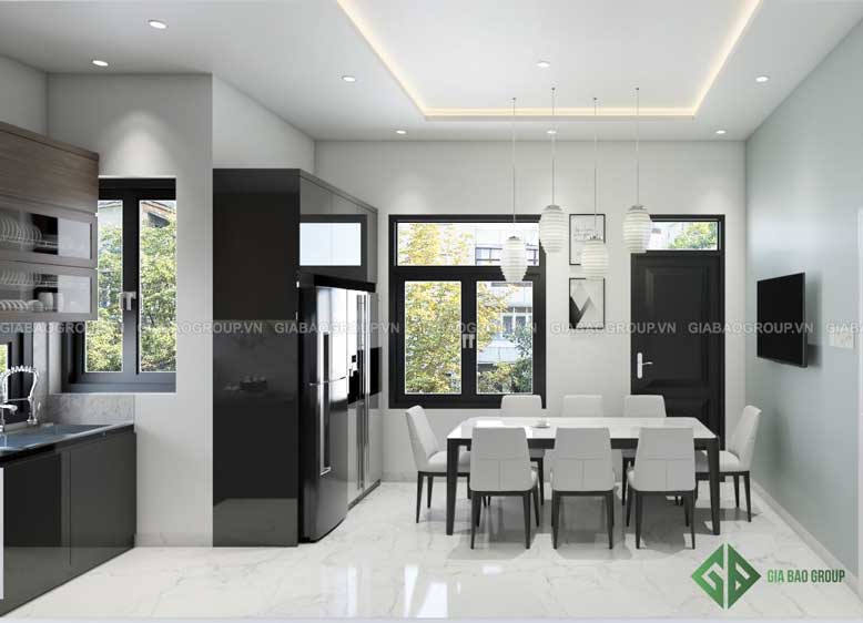 Thiết kế không gian mở tràn ngập ánh sáng cho nhà bếp trong nội thất nhà ống