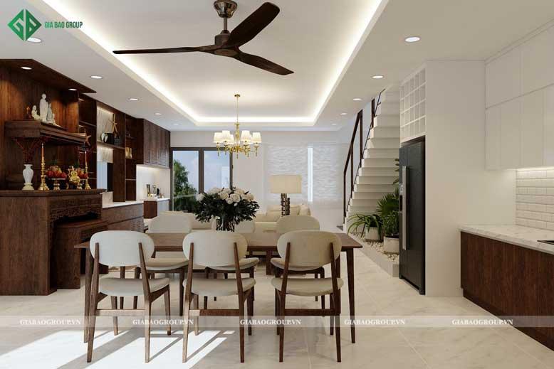 Thiết kế bếp liền kề phòng khách giúp tiết kiệm tối đa diện tích