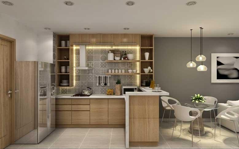 Nội thất nhà ống với bếp và phòng ăn liền kề