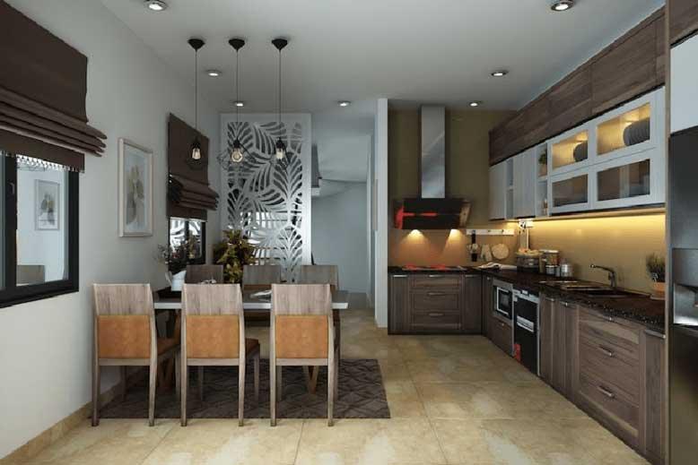 Thiết kế phòng bếp và phòng ăn trong cùng 1 không gian