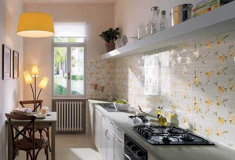 Gam màu trung tính và các họa tiết đẹp mắt cho mẫu bếp chữ I diện tích hẹp