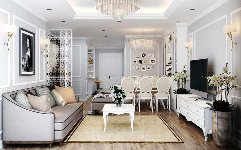 Phòng khách liền kề phòng ăn trong thiết kế nội thất nhà ống tân cổ điển