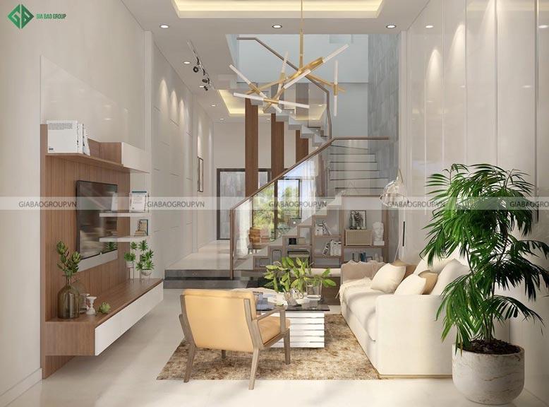 Nội thất phòng khách hiện đại với màu sắc tinh tế, sang trọng