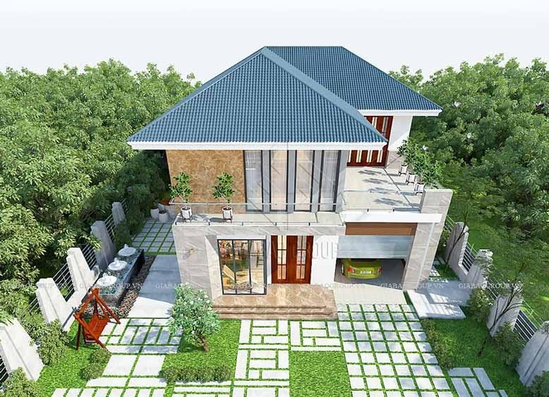 Biệt thự sân vườn mái thái thiết kế theo phong cách hiện đại với lối kiến trúc tự do.