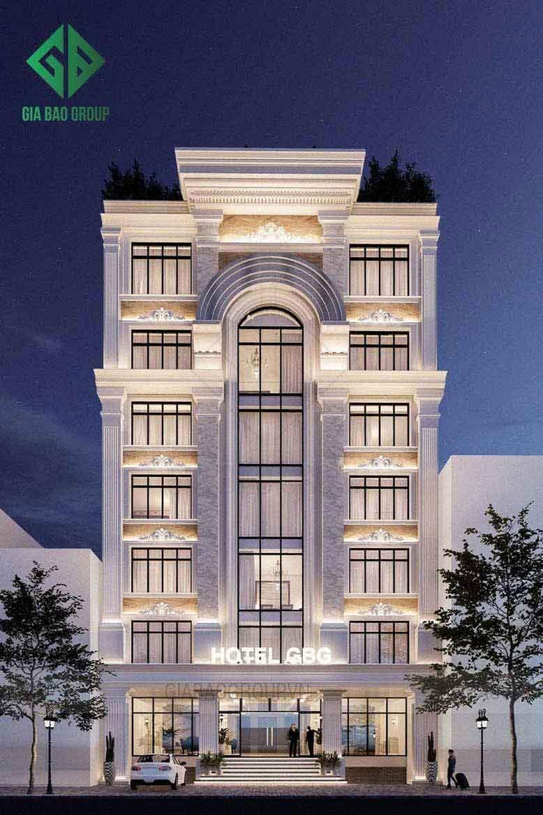 Thi công khách sạn 8 tầng phong cách tân cổ điển tại Vũng Tàu