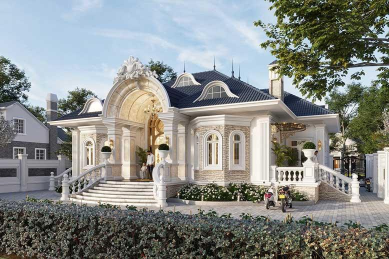 Biệt thự 1 tầng phong cách tân cổ điển