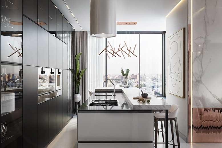 Không gian liền mạch từ phòng khách đến phòng bếp