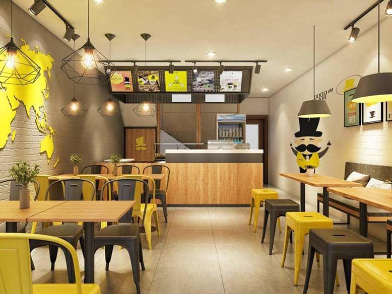 Những mẫu thiết kế quán ăn đẹp theo phong cách công nghiệp tiện lợi.
