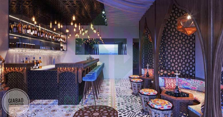 Thiết kế quán bar rộng thoáng đem lại sự thoải mái tối ưu cho khách hàng