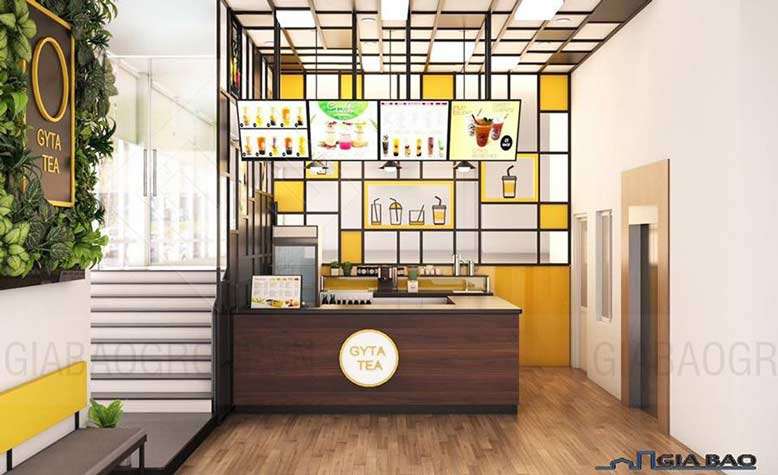 Những gợi ý thiết kế quán trà sữa đẹp thu hút khách hàng