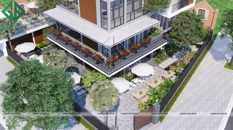 Phong cách nhiệt đới mang hơi thở tươi mát trong thiết kế thi công nhà ở kết hợp quán cafe