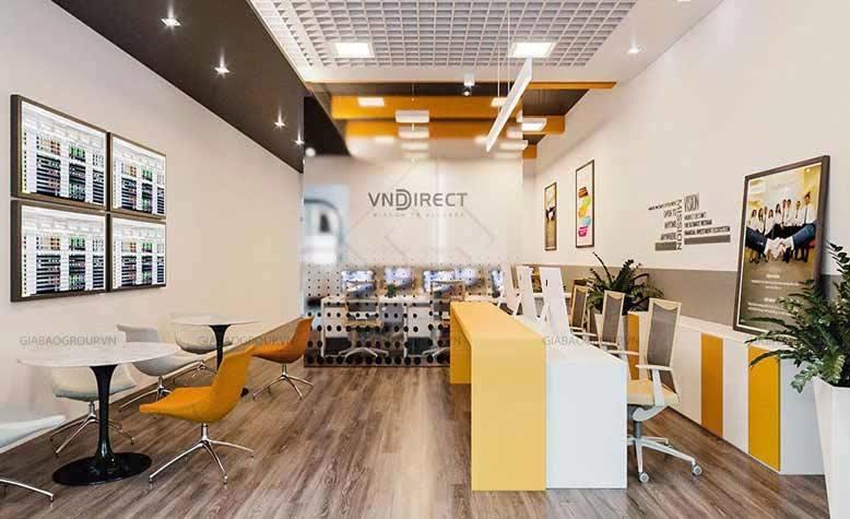 Thiết kế nội thất chứng khoán của VNDIRECT NTVP01 màu vàng chủ đạo