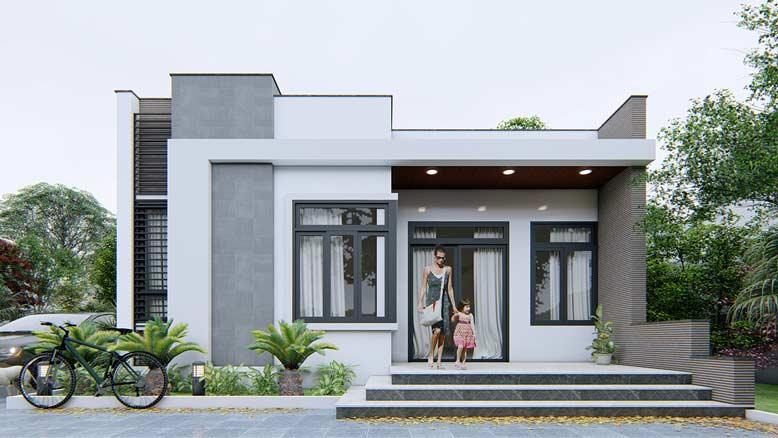 Nhà cấp 4 mái bằng kiểu biệt thự với sân vườn rộng rãi, sử dụng nhiều cửa kính