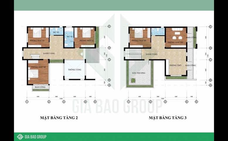 Mặt bằng tầng 2 và tầng 3 của biệt thự 3 tầng hiện đại