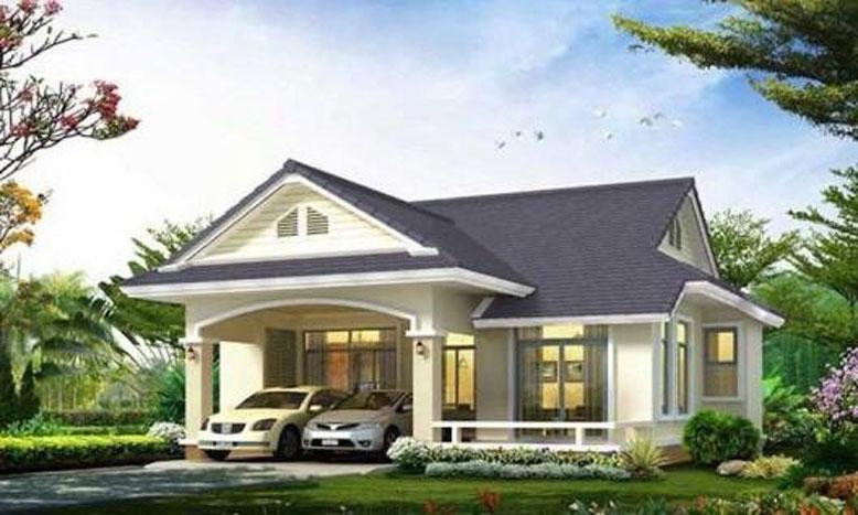 Mẫu nhà cấp 4 mái Thái với nhà vườn xanh mát mắt